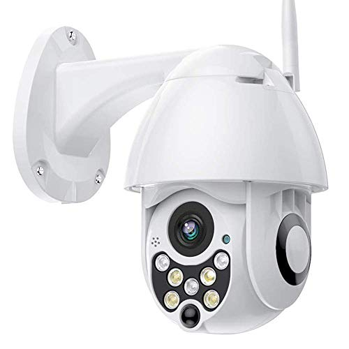 PTZ Camara Vigilancia, Camara WiFi Exterior Impermeable IP66 con Audio de Dos Vías, Visión Nocturna, Detección de Movimiento, Notificación de Alarma, 320° Pan/110° Tilt