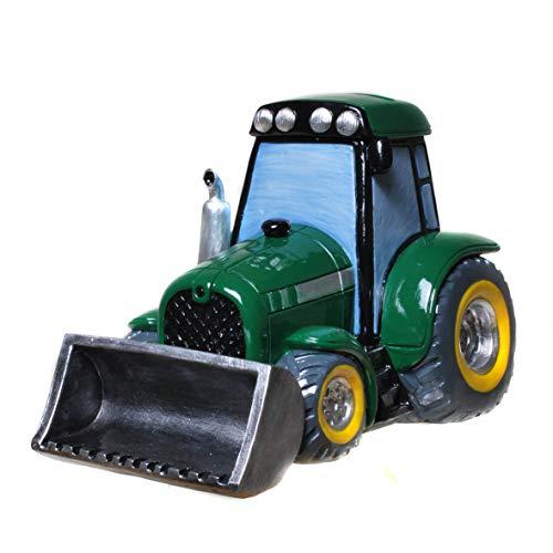 Topshop24you wunderschöne Spardose,Spardose,Sparschwein grüner Traktor mit Schaufel mit Drehverschluß