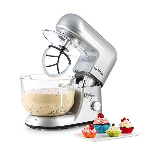 Klarstein Bella Argentea 2G - Küchenmaschine, Rührmaschine, Knetmaschine, 1200 W, 5,2 Liter, 6-stufige Geschwindigkeit, silber