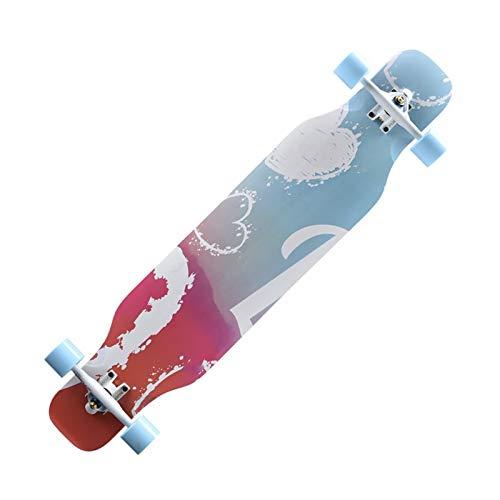 KHUY Longboard Cruiser 42 Zoll, Sumeber Skateboard, Drop-Through Freerider, Komplett-Board mit Tollen Features für Einsteiger, Verschiedene Deck-Designs Wählbar (Color : A)