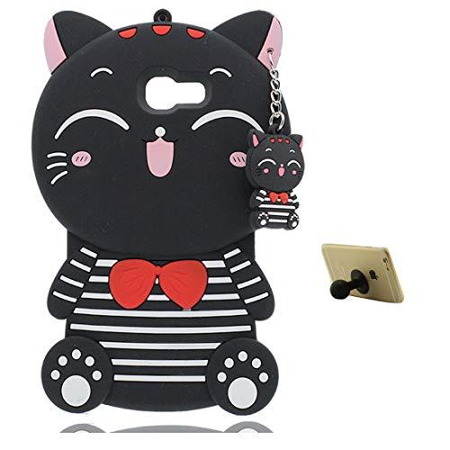 EarthNanLiuPowerTu Samsung Galaxy A5 2017 Carcasa Silicona 3D Funda Protectora Personalizada a Prueba de choques Case Linda Anti-arañazos Negro Kitty Gato Cat + Soporte lechón