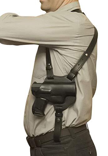 VlaMiTex S1 Pistolera de hombro, de cuero, para Glock 17 19 22 23 25 31 32 38 44 45 48, color negro