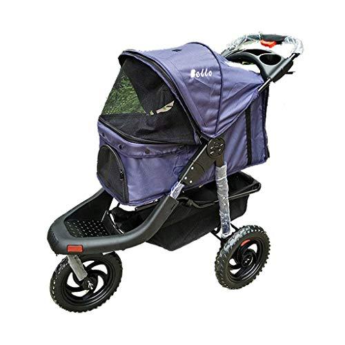 GWM Passeggino per Cani Passeggino per Cani/Gatti Passeggino per Animali a Prova di Pioggia Multifunzionale Passeggino per Auto Sportiva Pet Wheel (Colore : Purple)