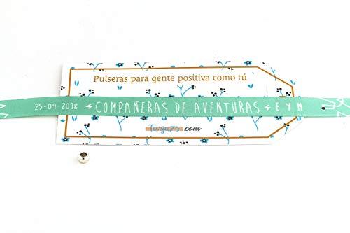 Tarja 73 - Pulsera de Tela con Mensaje: COMPAÑERAS DE AVENTURAS - Pulsera con Frase - Regalo Creativo e Ideal