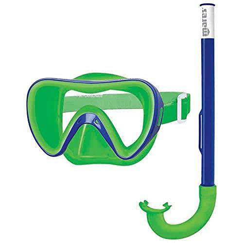 Mares 411778 411778-Kit Mascara y Tubo Snorkel Buceo Turtle Color Azu/Ver, Adultos Unisex, Talla Única