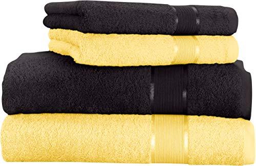 Mixibaby - Juego de toallas (4 unidades) Toalla de ducha de algodón negro con combinación de colores