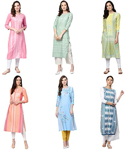 Vaamsi Women's PrinteN Polyester Straight Kurta Combo (Pack of 6) (COPK(1594-1603-1641-1733-1762-1788) N_M_MulticoloureN)