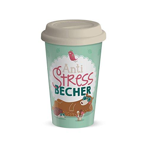 GRUSS & CO 44428 Spruch Anti-Stres, Porzellan mit Silikon Deckel, 45 cl Becher, Pastellfarben, 8,5 x 8,5 x 9,5 cm