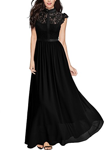Miusol Women's Formal Floral Lace Cap Sleeve Evening Party Maxi Dress,XX-Large,Black
