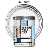 Pintura para Madera | Bio-based Wood Paint RAL 9003 | 1 L | para todo tipo de madera | Pintura madera exterior con un aspecto de acabado semi mate cálido y sedoso | Color Blanco