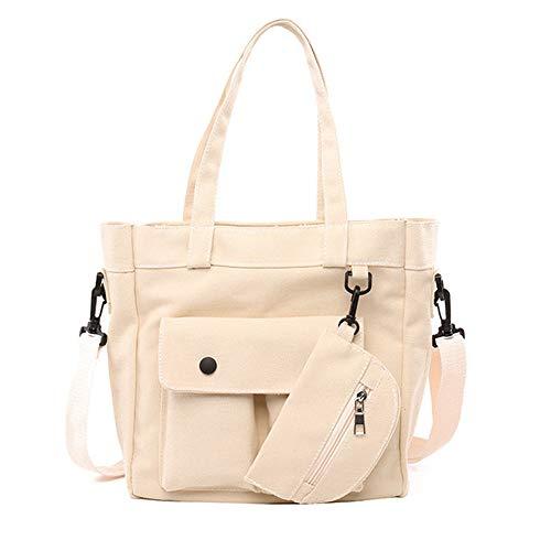 Bolso de hombro ligero bolso de la moneda, bolso grande del bolso de la bolsa de la bolsa de la lona para las mujeres de viaje, blanco (Blanco), Large