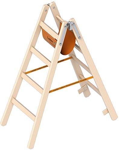 Layher Holzleiter Stehleiter nach Ö-Norm 1053 4 Sprossen Arbeitshöhe 2,55 m