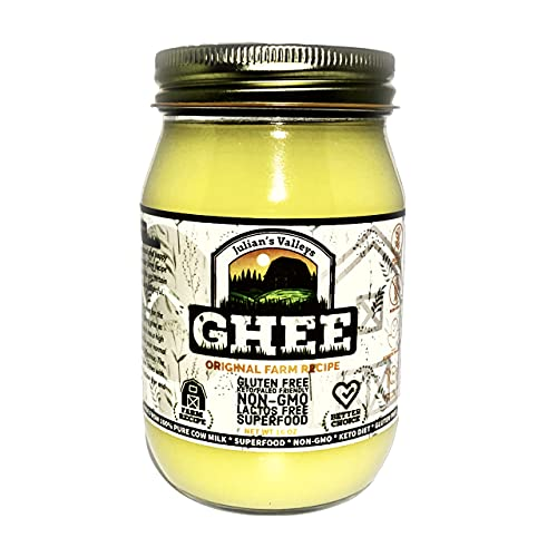 Julian's Valleys Ghee Clarified Butter, Made With Unsalted Butter, 16OZ Non-GMO, Lactose Free, Gluten Free Paleo & Keto Friendly, Glass jar shape may vary based on availability