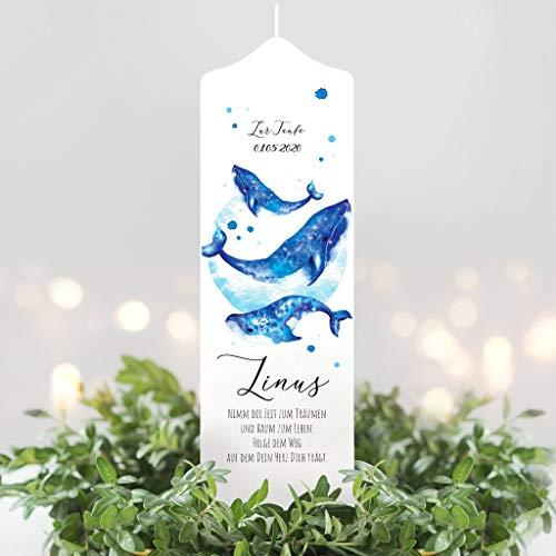 Wandtattoo Loft Taufkerze Junge oder Mädchen Wal Kerze Blau weiße Kerze zur Taufe, Geburt Kommunion weiß 25 x 7 cm mit Name, Datum, ggf. Taufspruch/Taufkerze 25 x 7 cm (abgebildeter Taufspruch)