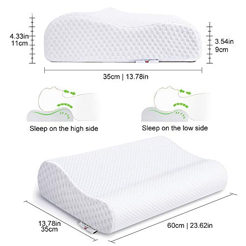 Power Of Nature Memory Foam Contour Pillow, Neck Support Cervical Bed Pillow for Sleeping, Side Sleeper - Relieve Neck Pain with Washable Zippered Soft Cover