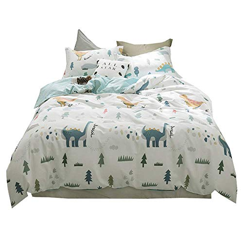 AMWAN Cartoon Dinosaur Printed Boys Duvet Cover Set Full Queen 100% Cotton Kids Bedding Cover Set Luxury Girls Duvet Cover Set Modern Soft Queen Size Duvet Cover Set for Students Teens, Style2