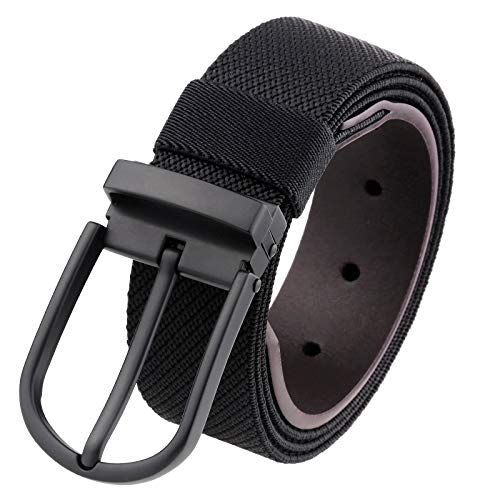 Samtree Nylon Stretch Belt for Men, Leather Tab Elastic Casual Web Belt with Removable Pin Buckle(Black)