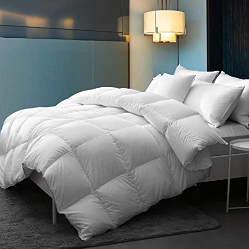 DWR Goose Down Comforter King - Ultra-Soft Cotton Quilted All Season 750 Fill-Power Goose Down Feather Comforter Duvet Insert (106x90 Inches, White)