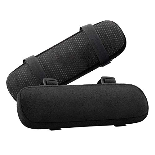 MOSISO Chair Armrest Pads (2 Pack), Memory Foam Home/Office Chair Arm Cover Comfy Computer Gaming Chair Cushion Removable Washable Elbow Support Forearm Pressure Relief, Black Arms chair