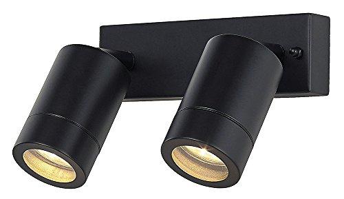 Moderne dubbele spot buiten IP44 wandlampfitting in mat zwart
