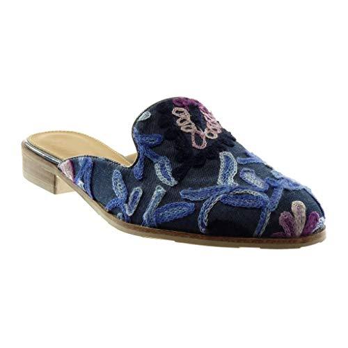 Angkorly - Damen Schuhe Oriental Hausschuhe Schuh-Mule - Slip-on - Hintere Öffnung - Blumen - Bestickt - Fantasy Blockabsatz 2.5 cm - Marineblauen WH863 T 40