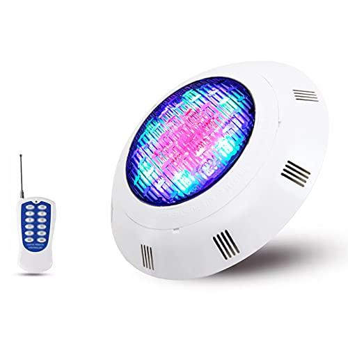 Focos Led Piscina Color RGB Montado en La Pared con Control Remoto 12V Impermeable IP68 Luz Piscina Sumergible se Utiliza para Elementos de Agua, Fuentes. (Color : RGB, Size : 54W)