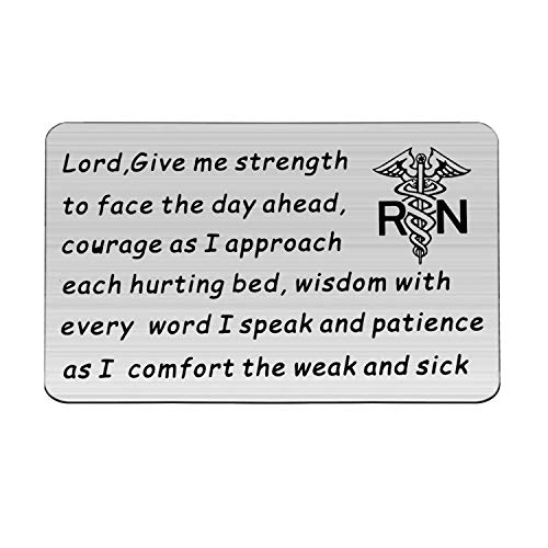 POTIY Inspirational Nurse Gift Nurse Prayer Wallet Card Lord Give Me Strength Courage Wisdom Patience Gift RN Gift Medical Student Gift Nursing School Graduation Gift (Card)