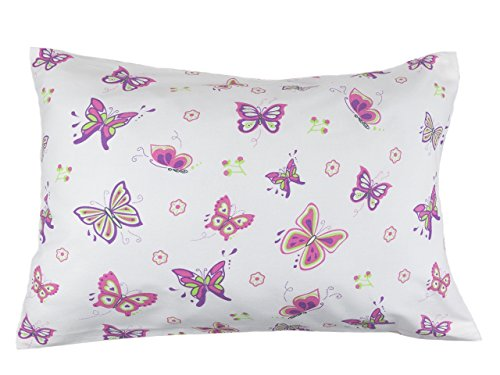 BB MY BEST BUDDY Toddler Kids Pillowcase for Boys and Girls - Butterfly/Butterflies 13 x 18 - shrinks to fit - 100% Cotton - Naturally Hypoallergenic and Soft - Designed in USA - Machine Washable