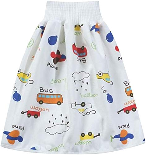 Comfy Children's Adult Diaper Skirt Shorts, Training Pants 2 en 1 Waterproof and Absorbent Shorts for Baby Boys Girls (Car, M)