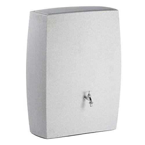 Regentonne eckig Regenwassertank Noblesse 275 Liter granit grau aus UV- und witterungsbeständigem Material. Regenfass bzw Regenwassertonne mit kindersicherem Deckel und hochwertigen Messinganschlüssen