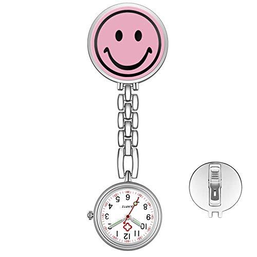 dihui Quarzuhr aus Legierung,Lächelnde Krankenschwester langlebige Taschenuhr, kleine tragbare Taschenuhr-Smiley,hängen Taschenuhr
