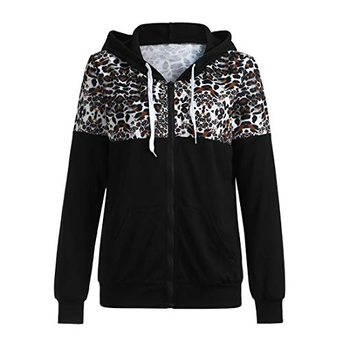 Women's Hoodies Sweatshirt Winter Autumn Casual Loose Long Sleeve Tops Zipper Jacket with Pockets Stylish Chic Leopard Patchwork Jackets Outwear Loose Lightweight Sweatshirts S