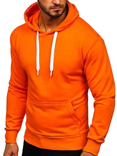 BOLF Herren Kapuzenpullover Sweatjacke Hoodie Sweatshirt mit Kapuze Reißverschluss Farbvarianten Kapuzenpulli Freizeit Training Gym Fitness Unisex 1004 Orange L [1A1]