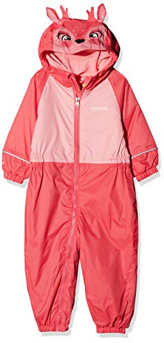 Regatta Mudplay III Waterproof and Breathable Insulated Animal All-in-One Costume Enfant, Géranium/Fleur Rose, Size 12-18