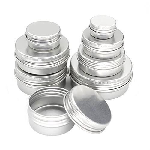 20pcs Jarra de aluminio 5G 10G 15G 20G 30G 40G 50G 60G, Tarro de crema de metal, estaño de aluminio de plata, contenedor cosmético roscado de metal (Specifications : Silver 20g)