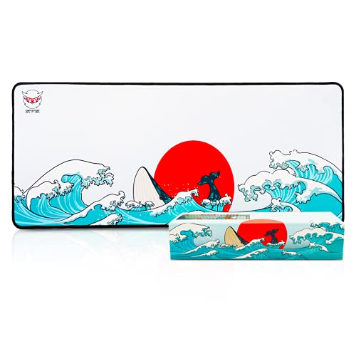 XVX Gaming Mouse Pad Coral Sea Background Pattern Large Mouse Pad Mat Long Extended Mousepad Desk Pad Non-Slip Rubber Mice Pads Stitched Edges Thin Pad (27.6x11.8x0.08 Inch) for Windows PC Gamer