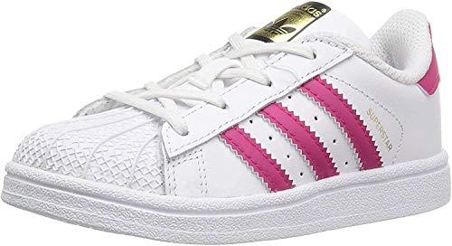 adidas Originals C77154_Superstar Originals, Basses Mixte Enfant - Blanc - White/Bold Pink/White, 27 EU