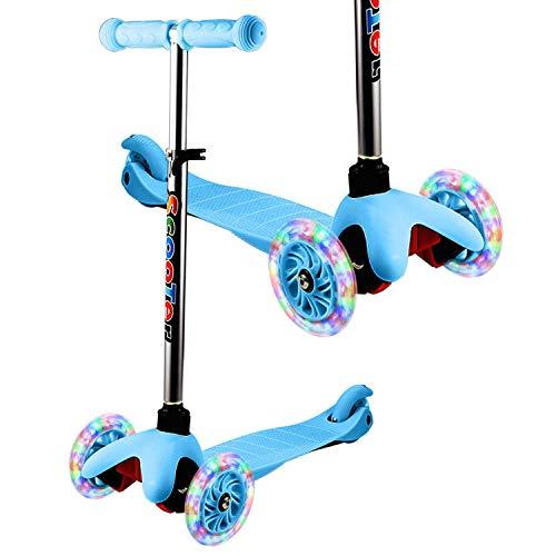 WeSkate - Patinete Infantil de 3 Ruedas para Principiantes, niños de 2 a 8 años, Mini Patinete con Ruedas Luminosas y Manillar Ajustable sobre 4 Niveles, Ligero y fácil de Transportar,Azul