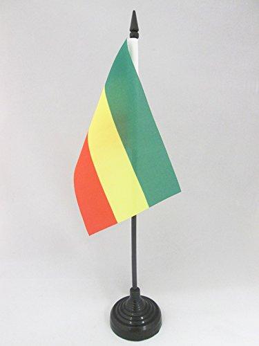 AZ FLAG TISCHFLAGGE ÄTHIOPIEN OHNE Wappen 15x10cm - ÄTHIOPIEN TISCHFAHNE 10 x 15 cm - flaggen