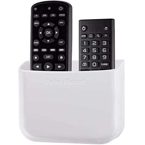 TotalMount Hole-Free Remote Holder - Eliminates Need to Drill Holes in Your Wall (For 2 or 3 Remotes - White - Quantity 1)