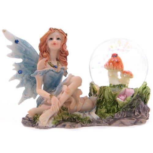 Glitzerkugel Blumenfee blau Schneekugel Figur Schneekugeln Elfe Fee Fairy Märchen