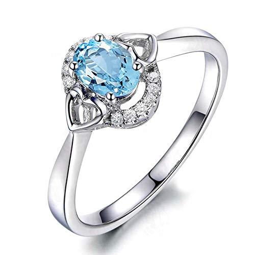 Adokiss Joyas Anillos Mujer 925 Plata, Anillos Compromiso Ovalada con Hueco Corazón 6X8MM Azul Topacio con Circonita Blanco | Plata | Tamaño 13,5