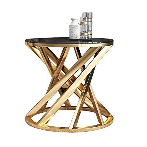 AI LI WEI Household Products/Furniture Tabla Lado, la Sala de Cristal Templado pequeñas y Redondas de Mesa Teléfono, Base de Acero Inoxidable Mesa de café Oro, Corner Table, 23.6 '', 20.8 ''
