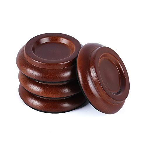 Piano Caster Cups Grand Upright Piano Wheels Feet Floor Protectors Solid Wood Casters Cups Wood Sliders with Non-Slip & Anti-Noise Foam Set of 4, Brown