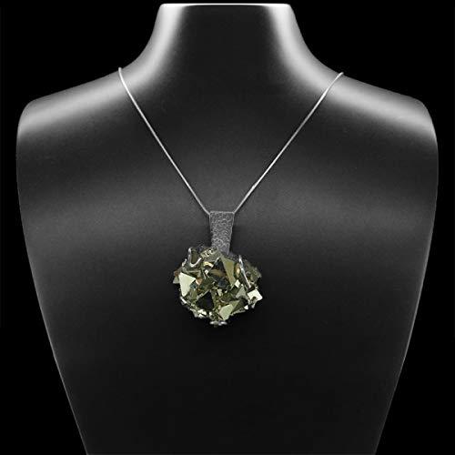 Ciondolo Drusa di Pirite in argento Sterling 925 (G68) minerali e cristalli, bellezza energetica, meditazione, amuleti spirituali