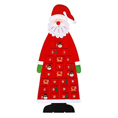 precauti Christmas Advent Calendar Christmas Tree Wall Hanging Santa Countdown Decoration with Pockets 24 Days Countdown Calendar