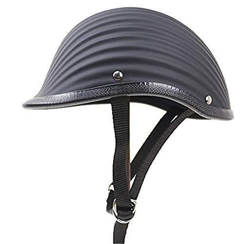 ZXLLAFT Helm, Motorradhalbhelm, Flache Mütze, Kleinster, Leichtester Motorrad-fahrradhelm,Blacka,XXL