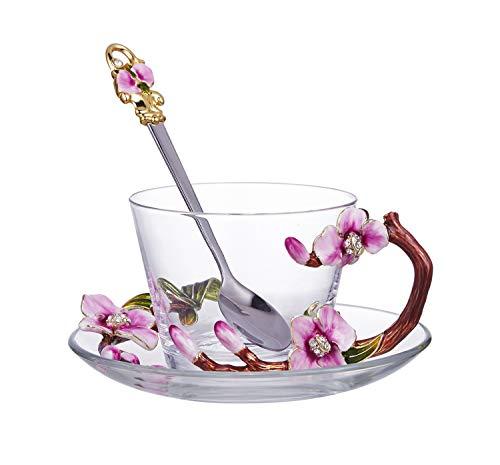 HaoYueDa Emaille Farbe Romantische Rosenmuster Kristallglas for Kaffeetasse Tasse Tee Tasse (Mit Teller Und Löffel Set) (Color : Clear)