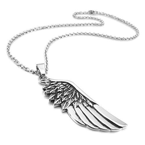 MunkiMix Acero Inoxidable Colgante Collar El Tono De Plata Pluma Feather Ángel ala Hombre,Cadena 58cm