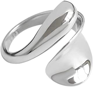 Geometry Irregular curve Opening Rings for Women Silver-Plated Plain Dome High Polished Rings Adjustable Size Jewelry Vale...